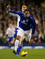 Liverpool, England - Wednesday, December 5, 2007: Everton's Joleon Lescott and Zenit St. Petersburg's Pavel Pogrebnyak during the UEFA Cup Group A match at Goodison Park. (Photo by David Rawcliffe/Propaganda)