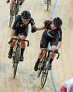 The New Zealand Team.Women's Madison 20km race.UCI Track Cycling World Cup Hong Kong 2019, Qualifiers Leg VI at the Hong Kong Velodrome in Tseung Kwan O ,Kowloon