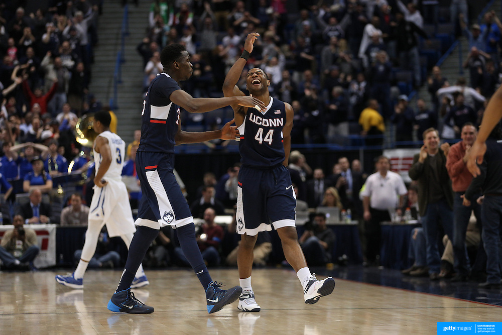Rodney Purvis, UConn, celebrates after sinking a big shot late in the game during the UConn Huskies Vs Tulsa Semi Final game at the American Athletic Conference Men's College Basketball Championships 2015 at the XL Center, Hartford, Connecticut, USA. 14th March 2015. Photo Tim Clayton