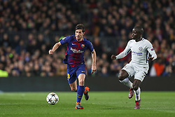 March 14, 2018 - Barcelona, Spain - SERGI ROBERTO of FC Barcelona evades NGOLO KANTE of Chelsea FC during the UEFA Champions League, round of 16, 2nd leg football match between FC Barcelona and Chelsea FC on March 14, 2018 at Camp Nou stadium in Barcelona, Spain (Credit Image: © Manuel Blondeau via ZUMA Wire)