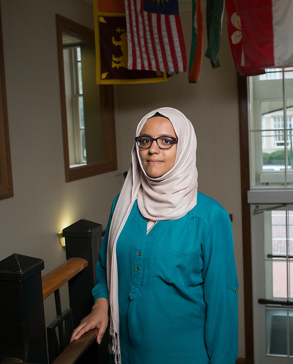 Noha Al-khalqi poses for a portrait in Copeland lobby on Thursday, September 10, 2015. Photo by Emily Matthews