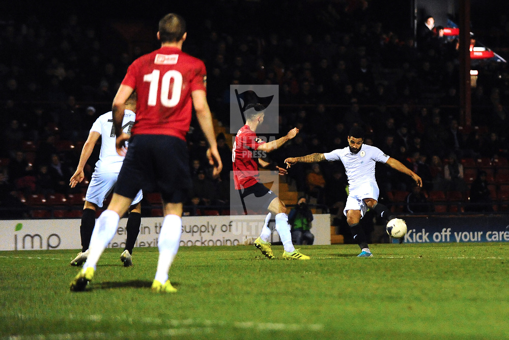 TELFORD COPYRIGHT MIKE SHERIDAN  Ellis Deeney of Telford hits the back of the net - but his effort is ruled out for offside during the Vanarama Conference North fixture between AFC Telford United and York City at Bootham Crescent on Saturday, January 11, 2020.<br /> <br /> Picture credit: Mike Sheridan/Ultrapress<br /> <br /> MS201920-040