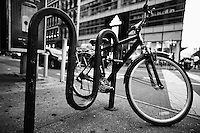 bicycle parked in Broadway street, New York, NY