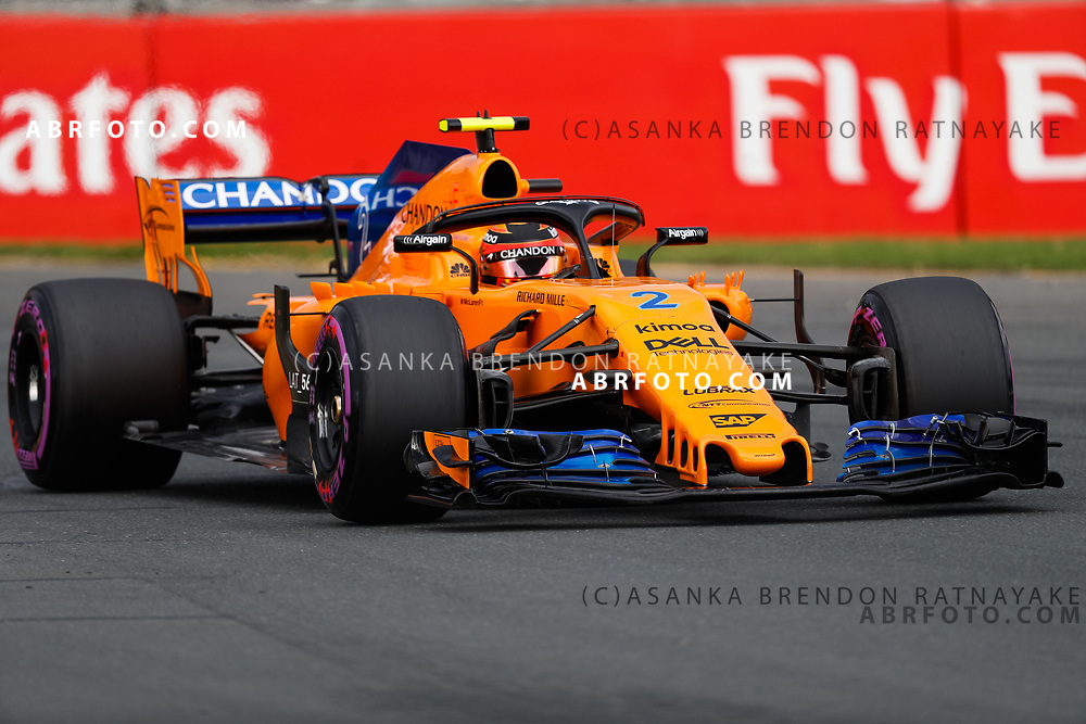 McLaren driver Stoffel Vandoorne of Belgium on Saturday during Qualifying for the 2018 Rolex Formula 1 Australian Grand Prix at Albert Park, Melbourne, Australia, March 24, 2018.  Asanka Brendon Ratnayake