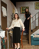 """Abby Brewster (Emily Paronto) and Martha Brewster (Kaela Sweetland) practice a scene for Laconia High School's production of """"Arsenic and Old Lace"""" on Wednesday evening.  (Karen Bobotas/for the Laconia Daily Sun)"""