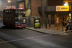 © Licensed to London News Pictures. 02/03/2012. London, UK. The 432 bus where a 17 year old male was stabbed today (02/03) outside West Norwood Bus Garage at approximately 1315hrs. London Ambulance Service and the London Air Ambulance responded and the victim was taken to a south london hospital where his wounds are said to be 'life threatening', one person  is in custody according to a Met Police spokesman.   Photo credit : James Gourley/LNP