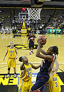 February 24 2011: Illinois Fighting Illini guard Adrienne Godbold (24) pulls in a rebound between Iowa Hawkeyes guard Kachine Alexander (21) and Iowa Hawkeyes forward Kalli Hansen (3) during the first half of an NCAA women's college basketball game at Carver-Hawkeye Arena in Iowa City, Iowa on February 24, 2011. Iowa defeated Illinois 83-64.