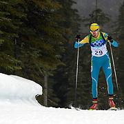 Winter Olympics, Vancouver, 2010. Elena Khrustaleva, Kazakhstan, on her way to finishing fifth in  the Women's 7.5 KM Sprint Biathlon at The Whistler Olympic Park, Whistler, during the Vancouver  Winter Olympics. 13th February 2010. Photo Tim Clayton