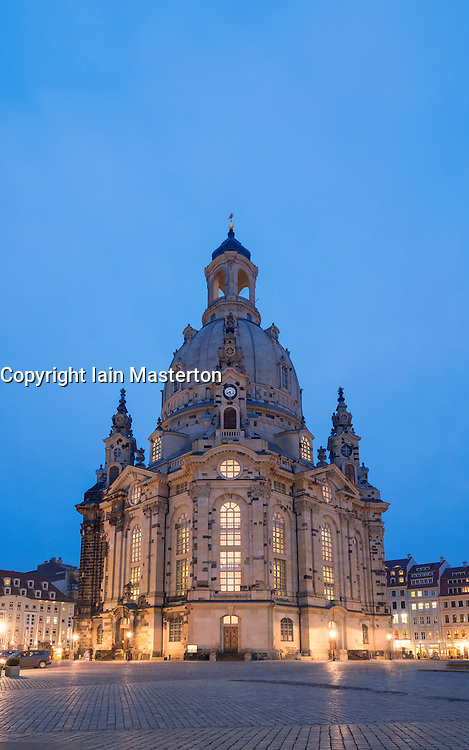 Night view of Frauenkirche in Neumarkt in Dresden, Germany