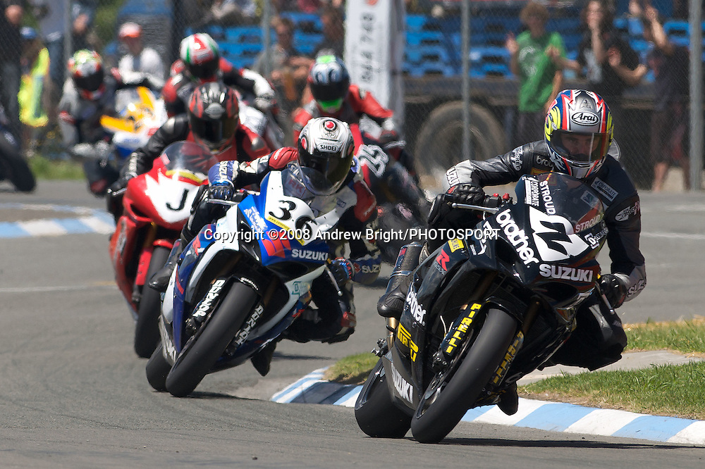 "Multiple NZ Superbike Champions Andrew Stroud leads through the ""Suzuki Esses"" at Wanganui's ""Cemetery Circuit"" motorcycle races."