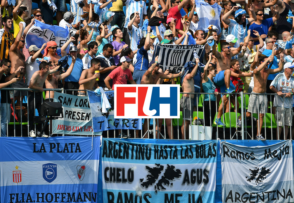 Argentina fans cheer their team after winning the men's semifinal field hockey Argentina vs Germany match of the Rio 2016 Olympics Games at the Olympic Hockey Centre in Rio de Janeiro on August 16, 2016. / AFP / Pascal GUYOT        (Photo credit should read PASCAL GUYOT/AFP/Getty Images)