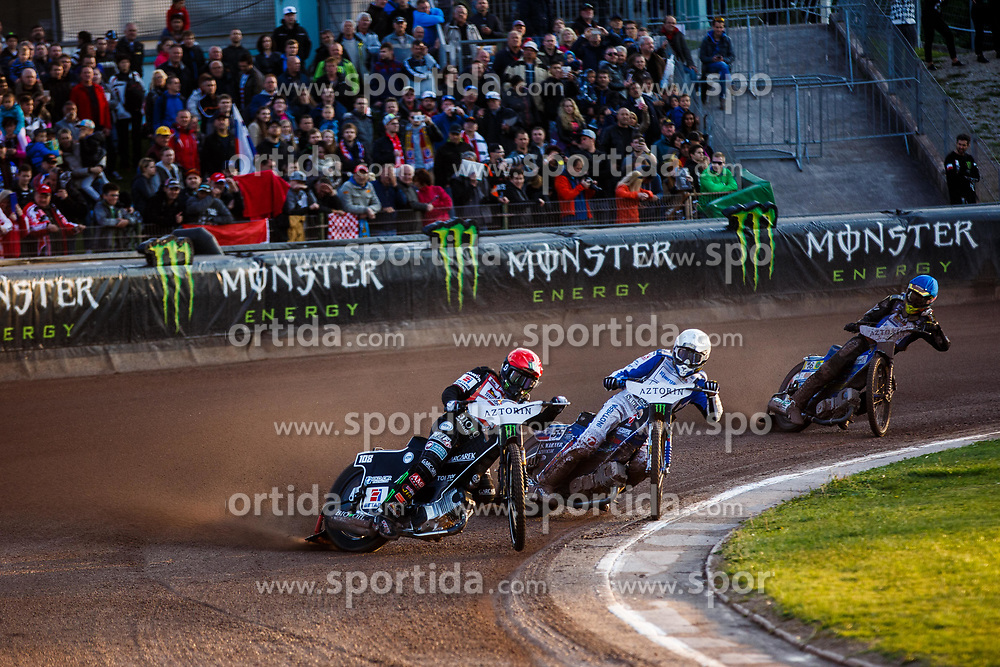 Matej Zagar #55 of Slovenia with Tai Woffienden #108 of England and Nick Skorja #16 of Slovenia during FIM Speedway Grand Prix World Cup, Krsko, on 29th of April, 2017, in Sports park Krsko, Slovenia. Photo by Grega Valancic / Sportida