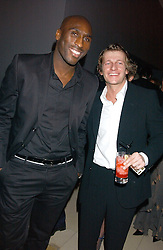 Left to right, footballer SOL CAMPBELL and actor LEO GREGORY at a Burns Night supper in aid of Clic Sargent & Children's Hospital Association Scotland hosted by Ewan McGregor, Sharleen Spieri and Lady Helen Taylor at St.Martin's Lane Hotel, 45 St Martin's Lane, London on 25th January 2006.<br /><br />NON EXCLUSIVE - WORLD RIGHTS