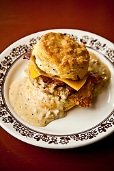 Fried Chicken, Bacon, Cheese, and Gravy on a Biscut