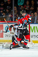 KELOWNA, BC - NOVEMBER 8:  Jake Poole #23 of the Kelowna Rockets tries to connect with the puck against the Medicine Hat Tigers at Prospera Place on November 8, 2019 in Kelowna, Canada. (Photo by Marissa Baecker/Shoot the Breeze)