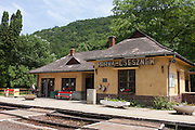 The rural station building at the rural Hungarian village of Porva-Csesznek, Veszprem, Hungary.