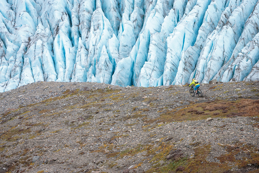 Darren Berrecloth rides down a previously untouched slope in the Tatshenshini-Alsek Provincial Park in British Columbia, Canada on September 4, 2016.