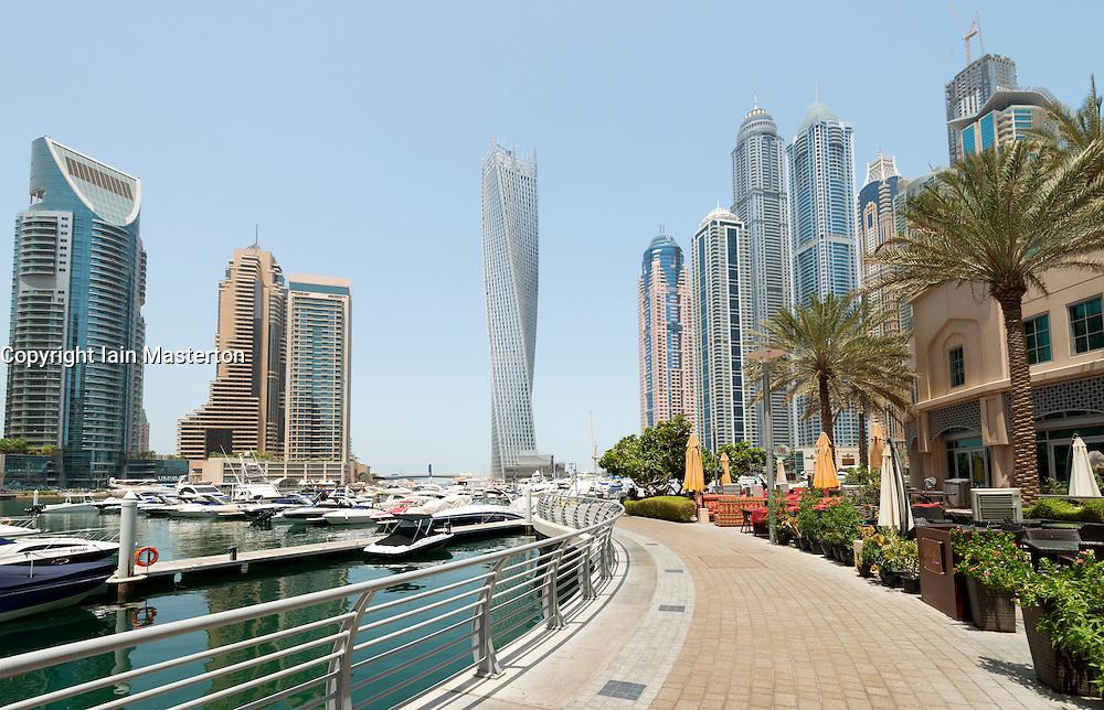 Modern high rise skyscrapers in Marina district of Dubai United Arab Emirates