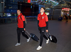 NANNING, CHINA - Monday, March 19, 2018: Wales' players xxxx and xxxx arrive at Nanning International Airport for the 2018 Gree China Cup International Football Championship. (Pic by David Rawcliffe/Propaganda)