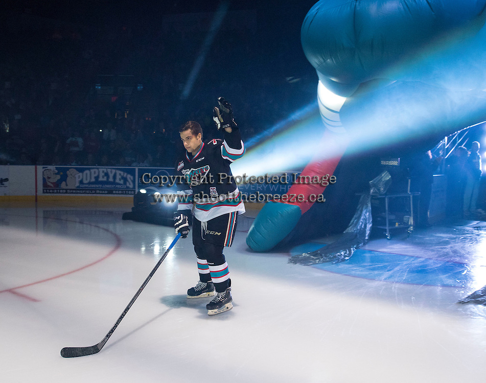 KELOWNA, CANADA - SEPTEMBER 25: Gage Quinney #20 of Kelowna Rockets enters the ice during the season home opener against the Kamloops Blazers on September 25, 2015 at Prospera Place in Kelowna, British Columbia, Canada.  (Photo by Marissa Baecker/Shoot the Breeze)  *** Local Caption *** Gage Quinney;