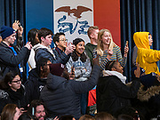 18 JANUARY 2020 - INDIANOLA, IOWA: Students at Simpson College look for Vice President Joe Biden before a campaign event for Biden Saturday. About 250 people came to Simpson College to listen to Vice President talk about his reasons for running for President. Iowa hosts the first event of the presidential election cycle. The Iowa Caucuses are Feb. 3, 2020.         PHOTO BY JACK KURTZ