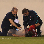 Fábio Coentrão , Portugal, receives treatment during the Portugal V Ireland International Friendly match in preparation for the 2014 FIFA World Cup in Brazil. MetLife Stadium, Rutherford, New Jersey, USA. 10th June 2014. Photo Tim Clayton