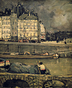 The Banks of the Seine in Paris'. Morrice James Wilson (1865-1924) Canadian Post-Impressionist painter. View across the river with barges in foreground towards buildings with brightly lit windows on far bank.