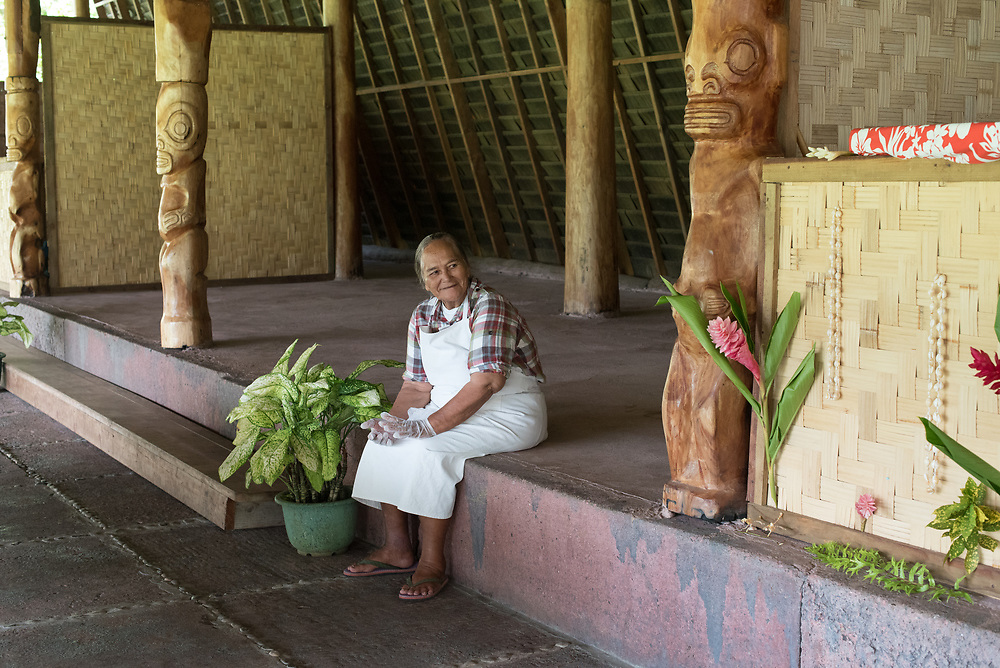 Nuku Hiva, French Polynesia -- March 23, 2018. A Nuku Hiva is sitting near an outdoor market. Editorial Use Only.