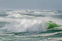 Large waves roll ashore in the 16-mile beach marine protected area, West Coast National Park, Western Cape, South Africa