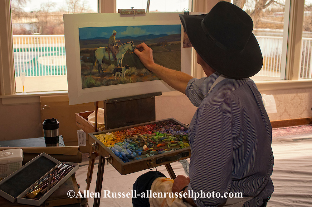 The Russell, C.M. Russell Museum Sale, Great Falls, Montana, 2011, Art in Action quick draw event, Steve Oiestad