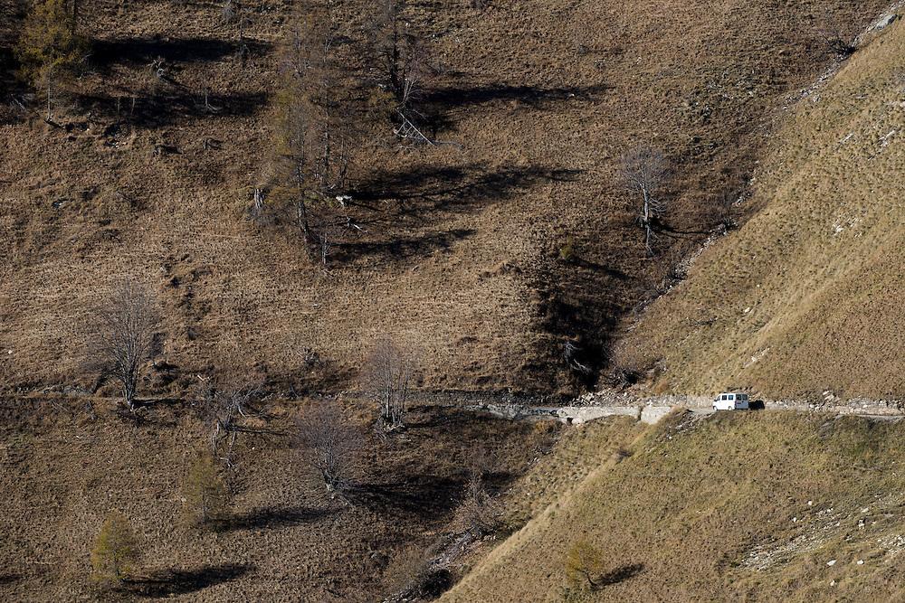 November 8, 2016 - Breil-sur-Roya, France: Sylvain's van on his  way to a pass over the mountains to reach a safe train station. By driving refugees over the mountains, the driver, Sylvain, a 67-year-old retired school teacher, risks police arrests and a trial.<br /> <br /> 8 novembre 2016, Breil-sur-Roya, Alpes fran&ccedil;aises, France. La camionette de Sylvain en route vers un col de montagne  avec 7 r&eacute;fugi&eacute;s &eacute;rythr&eacute;ens pour atteindre  une gare jug&eacute;e s&ucirc;re. Ce faisant, le conducteur, Sylvain, 67 ans, prof de math &agrave; la retraite, risque d'&ecirc;tre arr&ecirc;t&eacute; et jug&eacute;.