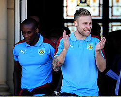 Burnley's Scott Arfield and Lloyd Dyer - Mandatory by-line: Matt McNulty/JMP - 09/05/2016 - FOOTBALL - Burnley Town Hall - Burnley, England - Burnley FC Championship Trophy Presentation