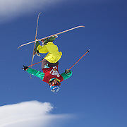 Nils Lauper, Switzerland, in action in the Men's Halfpipe Finals during The North Face Freeski Open at Snow Park, Wanaka, New Zealand, 3rd September 2011. Photo Tim Clayton..