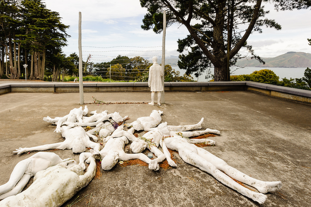 "California, George Segal's public sculpture, ""The Holocaust,"" Lincoln Park  in San Francisco overlooking  Pacific Ocean"