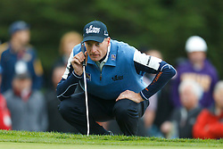 Feb 11, 2012; Pebble Beach CA, USA; Jim Furyk before putting on the third hole during the third round of the AT&T Pebble Beach Pro-Am at Pebble Beach Golf Links. Mandatory Credit: Jason O. Watson-US PRESSWIRE