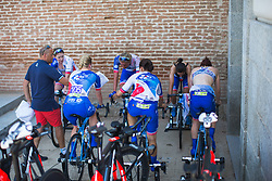 FDJ Nouvelle Aquitaine Futuroscope Team riders warm up for Stage 1 of the Madrid Challenge - a 12.6 km team time trial, starting and finishing in Boadille del Monte on September 15, 2018, in Madrid, Spain. (Photo by Balint Hamvas/Velofocus.com)