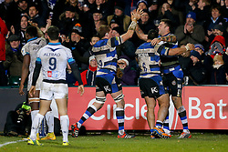 Bath Winger Matt Banahan celebrates with replacement Stuart Hooper and Flanker Alafoti Fa'osiliva after scoring a try - Photo mandatory by-line: Rogan Thomson/JMP - 07966 386802 - 12/12/2014 - SPORT - RUGBY UNION - Bath, England - The Recreation Ground - Bath Rugby v Montpellier Herault Rugby - European Rugby Champions Cup Pool 4.