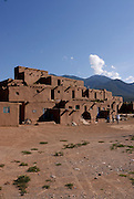 The old indian pueblo Martinez Hacienda made of adobe, Taos, New Mexico, USA