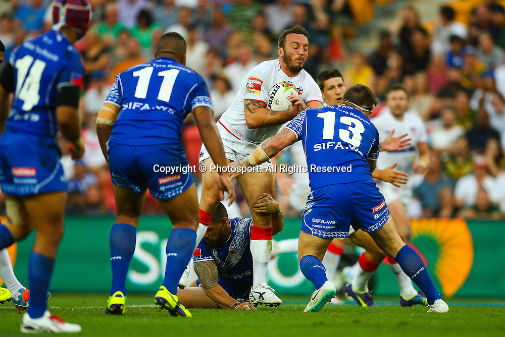 Josh Hodgson during the Four Nations test match between England and Samoa at Suncorp Stadium,  Brisbane Australia on October 18, 2014.