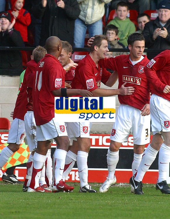 Photo: Dave Linney.<br />Walsall v Boston United. Coca Cola League 2. 27/01/2007.<br />Walsall's Martin Butler(C) celebrates after making it 1-0<br />to Walsall.