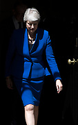UNITED KINGDOM, London: 24 July 2019 British Prime Minister Theresa May walks out of Downing Street to address members of the media before making her final speech as British Prime Minister. After speaking Theresa May was driven to Buckingham Palace where she will officially hand her resignation in to Her Majesty The Queen this afternoon. <br /> Rick Findler / Story Picture Agency