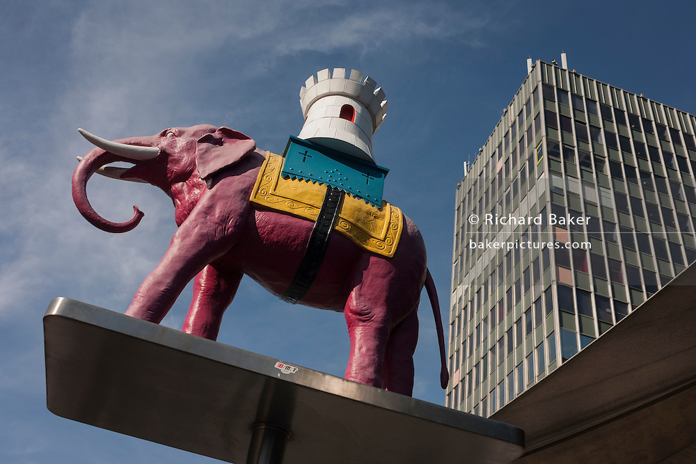 The iconic elephant and Castle outside the soon to be demolished Shopping Centre (right) at Elephant & Castle, south London.