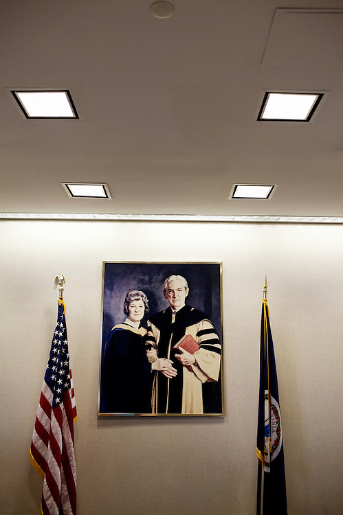 A painting of Dr. Howard Jones, now 99, and his late wife Dr. Georgeanna Seegar Jones at The Jones Institute in Norfolk, Virginia on Sunday,  February 7, 2010. Dr. Jones and his late wife Dr. Georgeanna Seegar Jones, helped to create the first test-tube baby born in America.