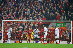 LIVERPOOL, ENGLAND - Thursday, November 26, 2015: Liverpool players face an indirect free-kick from FC Girondins de Bordeaux in the penalty area during the UEFA Europa League Group Stage Group B match at Anfield. (Pic by David Rawcliffe/Propaganda)