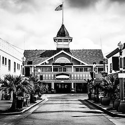 Balboa California Main Street Black and White Picture. Balboa is a city neighborhood of Newport Beach located on Balboa Peninsula in Orange County Southern California. Main Street has retail stores, gift shops and the famous Balboa Pavilion Harborside Restaurant which is a historic landmark. Photo Copyright © 2012 Paul Velgos with All Rights Reserved.