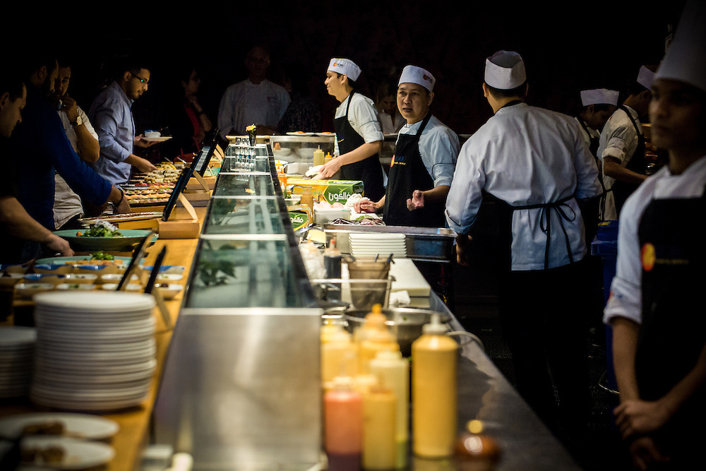 DUBAI, UAE - DECEMBER 18, 2015: The sushi bar at the Nobu Dubai restaurant, Atlantis, The Palm Jumeirah. Brunch packages cost 490Dhs (US$135) including bubbly and a tasting of Japanese rice-based beverages.