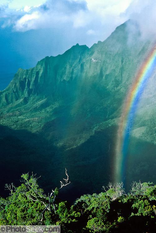Rainbow over green cliffs of Kalalau Valley Overlook, Kauai, Hawaii, USA. published May 2002 by Garden Isle Disposal Inc, a recycling and disposal company in Lihue, Kauai.