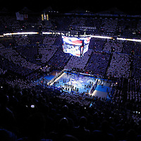 14 June 2012: General view of the Chesapeake Energy Arena during the National Anthem prior to the Miami Heat 100-96 victory over the Oklahoma City Thunder, in Game 2 of the 2012 NBA Finals, at the Chesapeake Energy Arena, Oklahoma City, Oklahoma, USA.
