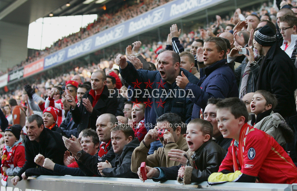 LIVERPOOL, ENGLAND - SATURDAY, FEBRUARY 18th, 2006: Liverpool's fans during the FA Cup 5th Round match against Manchester United at Anfield. (Pic by David Rawcliffe/Propaganda)