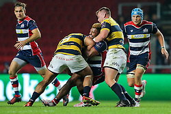 Jamal Ford-Robinson of Bristol Rugby is tackled - Rogan Thomson/JMP - 14/10/2016 - RUGBY UNION - Ashton Gate Stadium - Bristol, England - Bristol Rugby v Saracens - EPCR Challenge Cup.